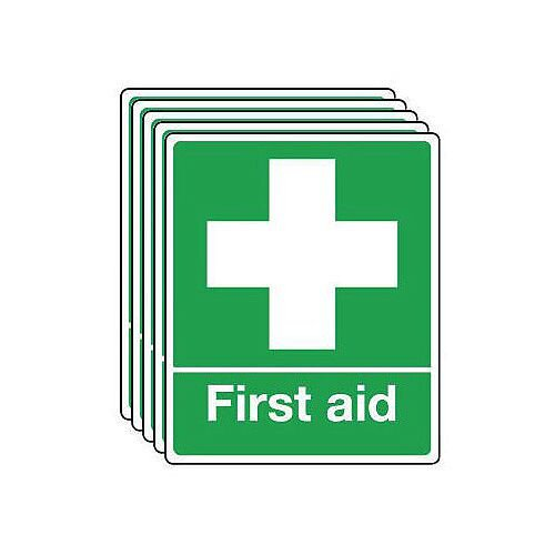 Self Adhesive Vinyl First Aid Sign Multi-Pack of 5