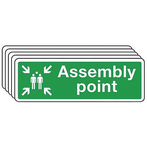 Rigid PVC Plastic Assembly Point Sign Multi-Pack of 5