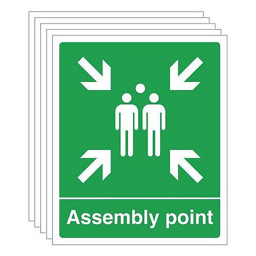Self Adhesive Vinyl Assembly Point Sign Multi-Pack of 5
