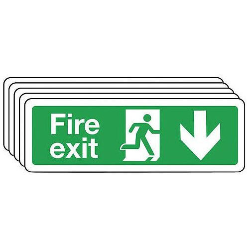 Rigid PVC Plastic Fire Exit Arrow Down Sign Multi-Pack of 5 H x W mm: 100 x 300
