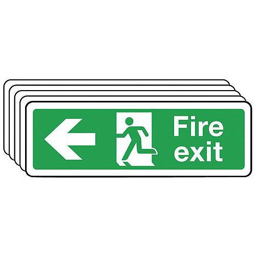 Rigid PVC Plastic Fire Exit Arrow Left Sign Multi-Pack of 5 H x w mm: 100 x 300