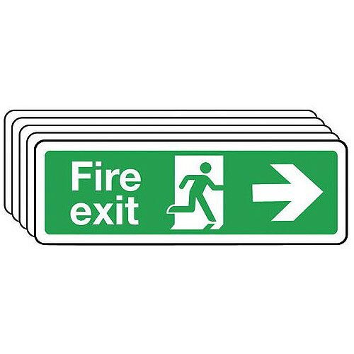 Rigid PVC Plastic Fire Exit Arrow Right Sign Multi-Pack of 5 H x W mm: 100 x 300