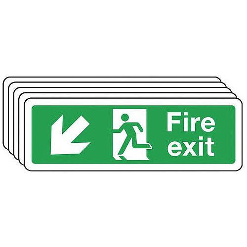 Self Adhesive Vinyl Fire Exit Arrow Down Left Sign Multi-Pack of 5