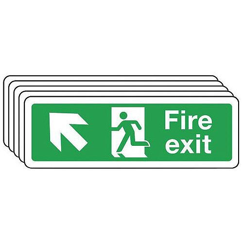 Rigid PVC Plastic Fire Exit Arrow Up Left Sign Multi-Pack of 5 H x W mm: 100 x 300