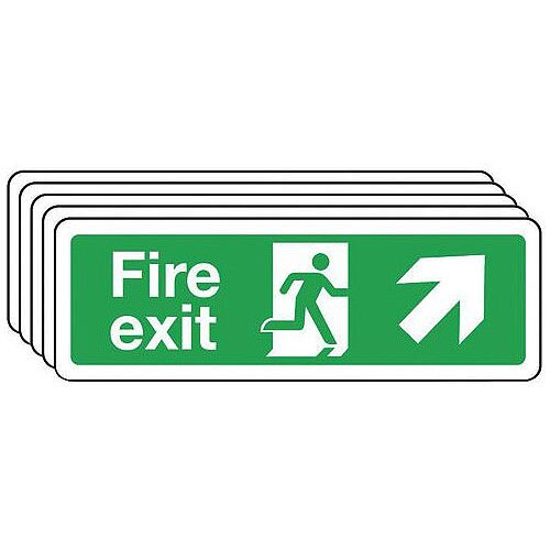 Rigid PVC Plastic Fire Exit Arrow Up Right Sign Multi-Pack of 5 H x w mm: 100 x 300