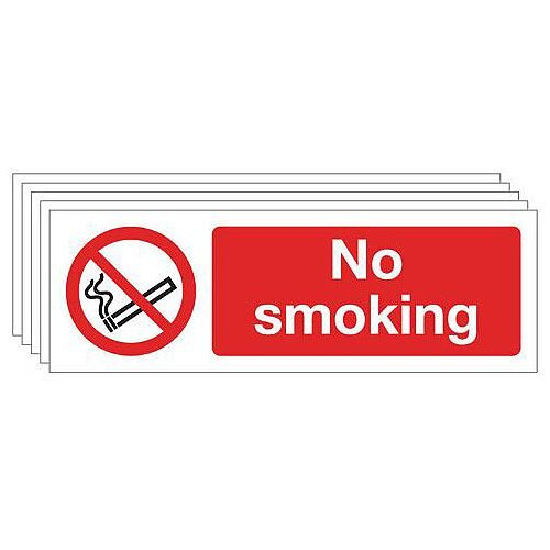Rigid PVC Plastic No Smoking Sign Multi-Pack of 5