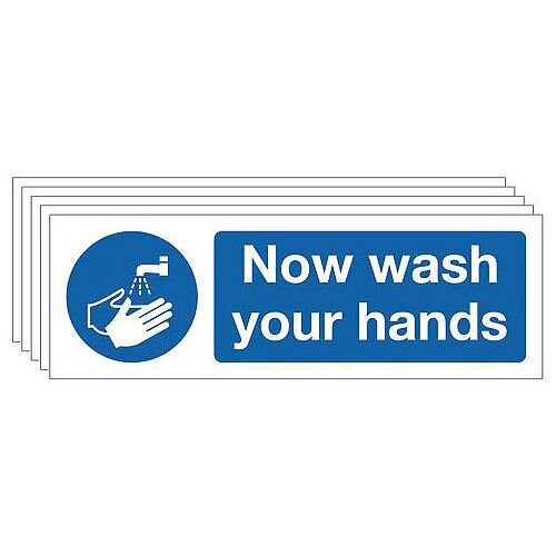 Rigid PVC Plastic Now Wash Your Hands Sign Multi-Pack of 5