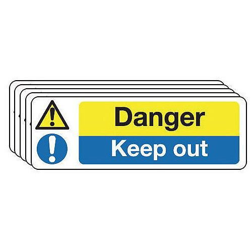 Rigid PVC Plastic Contruction And General Hazards Sign Danger Keep Out Pack of 5