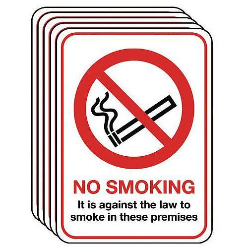 Rigid PVC Plastic A5 No Smoking Sign Multi-Pack of 5