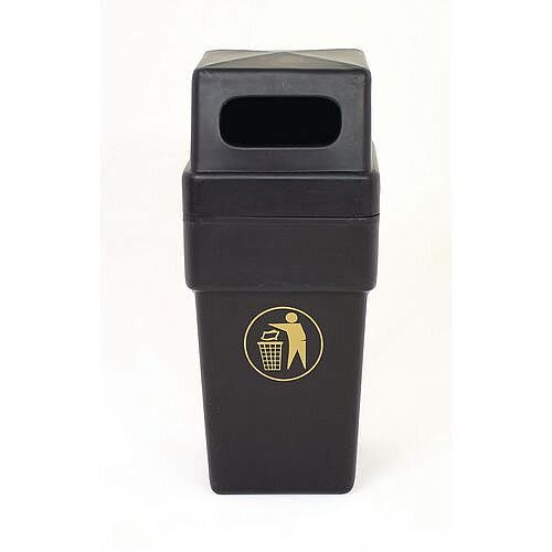 114L Hooded Plastic Litter Bin Black