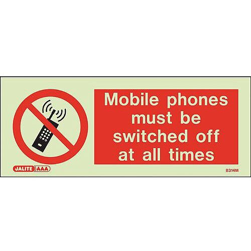 Photoluminescent Rigid Plastic Sign 200x80mm Mobile Phones Must Be Switched Off At All Times