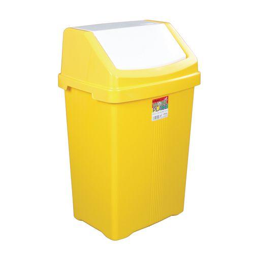 50L Workplace Swing Top Waste Bin Yellow
