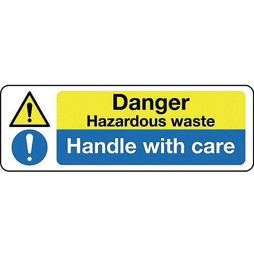 Self Adhesive Vinyl Multi-Purpose Hazard Sign Danger Hazardous Waste Handle With Care