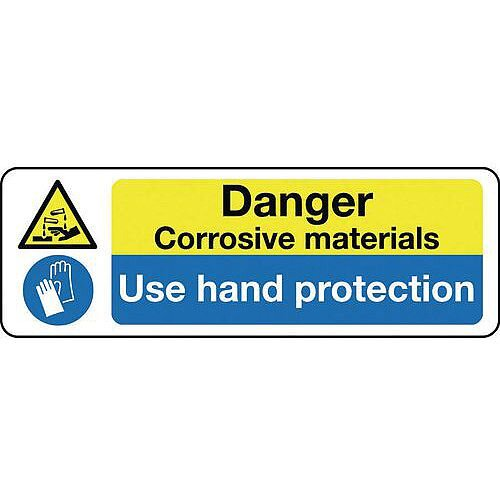 Self Adhesive Vinyl Multi-Purpose Hazard Sign Danger Corrosive Materials Use Hand Protection
