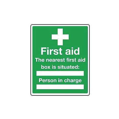 Self Adhesive Vinyl Safe Condition And First Aid Sign The Nearest First Aid Box Is Situated