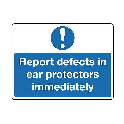 Self Adhesive Vinyl Personal Protection Sign Report Defects In Ear Protectors Immediately