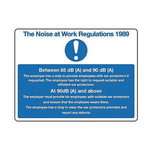 Self Adhesive Vinyl The Noise At Work Regulations 1989 Sign