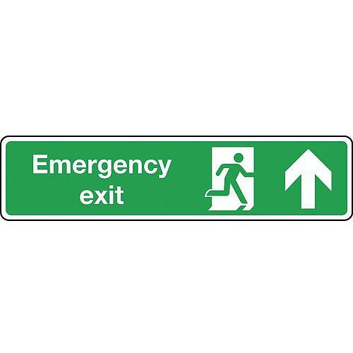Self Adhesive Vinyl Emergency Exit Arrow Up Slimline Sign