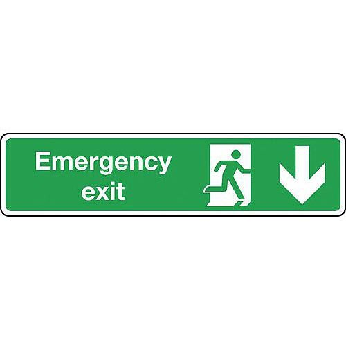 Self Adhesive Vinyl Emergency Exit Arrow Down Slimline Sign