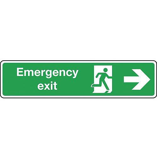 Self Adhesive Vinyl Emergency Exit Arrow Right Slimline Sign