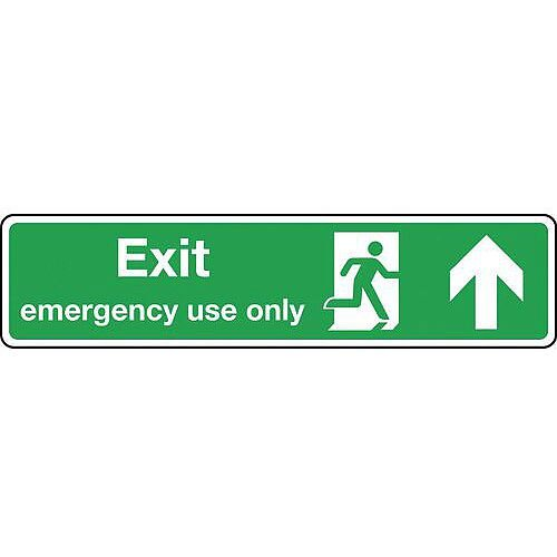 Self Adhesive Vinyl Exit Emergency Use Only Arrow Up Slimline Sign