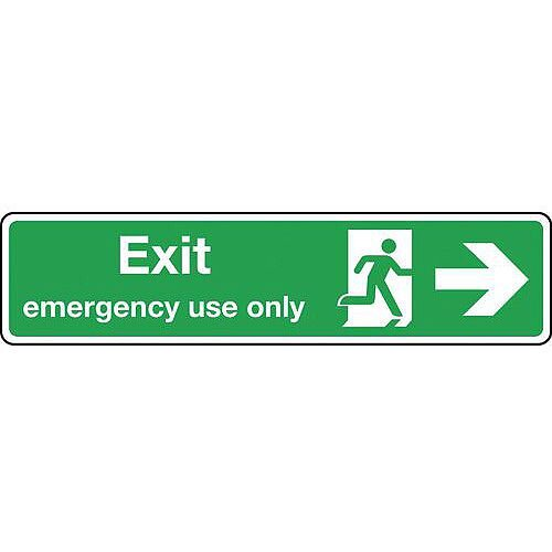 Self Adhesive Vinyl Exit Emergency Use Only Arrow Right Slimline Sign