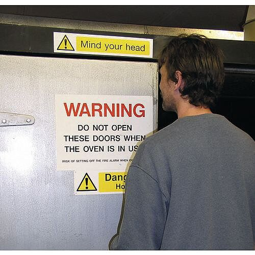 Self Adhesive Vinyl Overhead Hazard And Warning Sign Mind Your Head