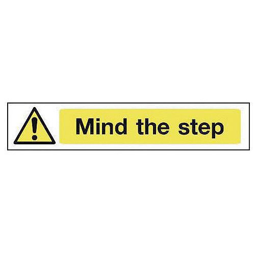 Self Adhesive Vinyl Overhead Hazard And Warning Sign Mind The Step