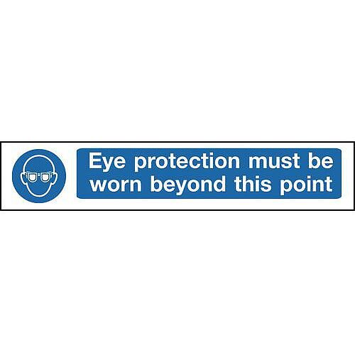 Self Adhesive Vinyl Overhead Hazard And Warning Sign Eye Protection Must Be Worn Beyond This Point