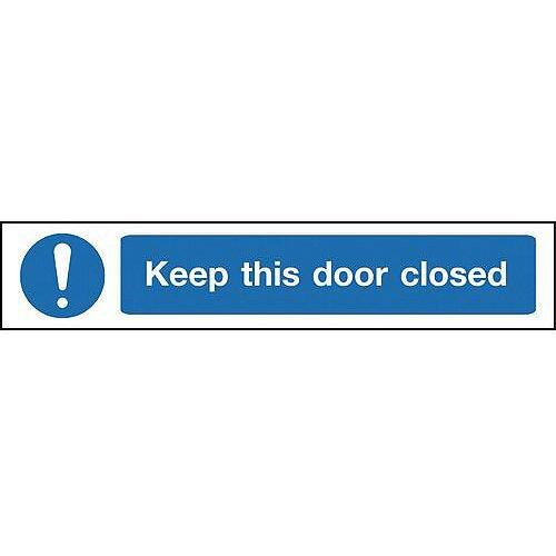 Self Adhesive Vinyl Overhead Hazard And Warning Sign Keep This Door Closed