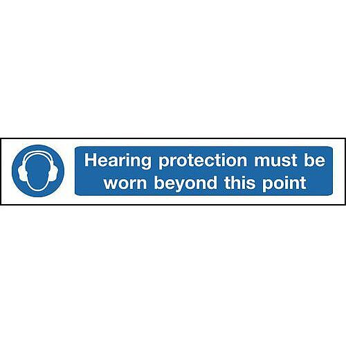 Self Adhesive Vinyl Overhead Hazard And Warning Sign Hearing Protection Must Be Worn Beyond This Point