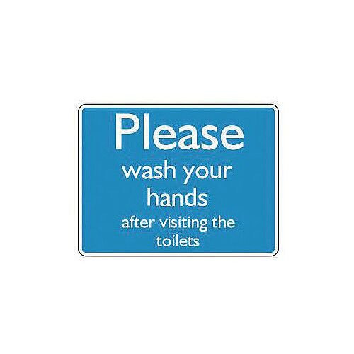 Self Adhesive Vinyl Information Sign Please Wash Your Hands After Visiting The Toilets