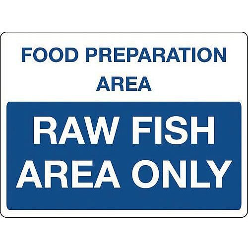 Self Adhesive Vinyl Colour Co-Ordinated Chopping Board &Storage Sign Food Preparation Area Raw Fish Only