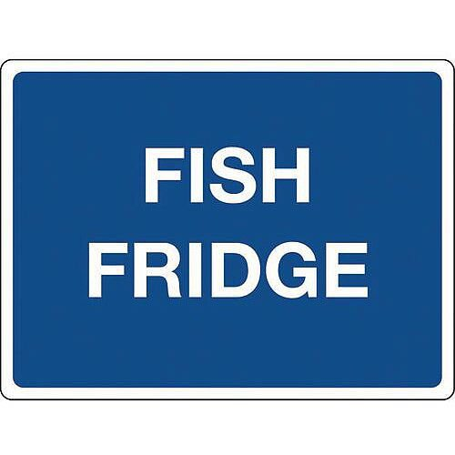 Self Adhesive Vinyl Colour Co-Ordinated Chopping Board &Storage Sign Fish Fridge