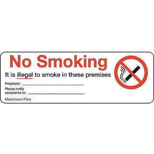 Personalised Regulation No Smoking Sign Self Adhesive W300xH100mm