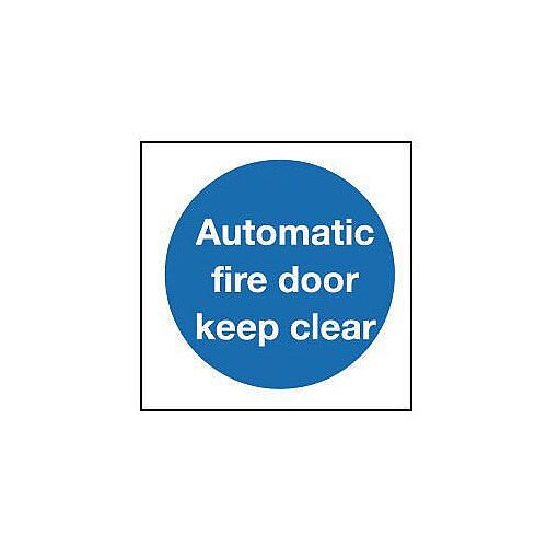 PVC Automatic Fire Door Keep Clear Sign