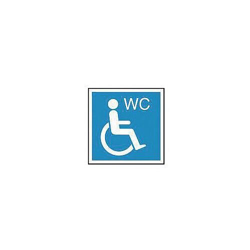 PVC Information Sign Wheelchair Symbol With WC 150x150mm Blue And White Ref 84RDFF