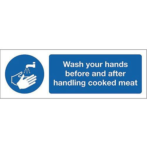 PVC Food Processing And Hygiene Sign Wash Your Hands Before And After Handling Cooked Meat