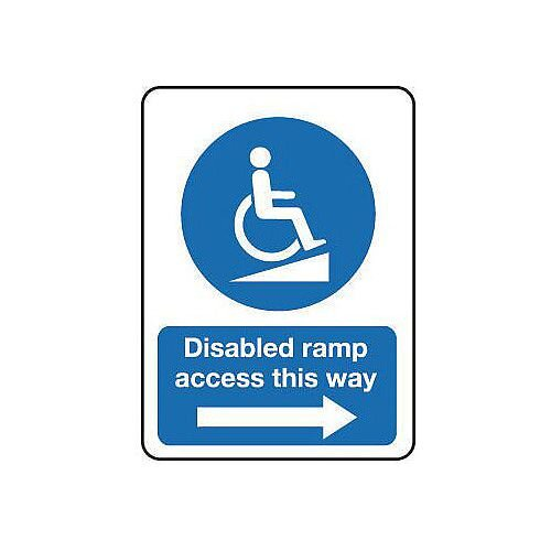 PVC Disabled Ramp Access This Way Arrow Right Sign