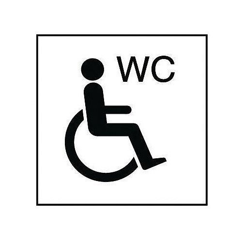 PVC Information Sign Wheelchair Symbol With WC 150x150mm Black And White Ref 8CJCFF