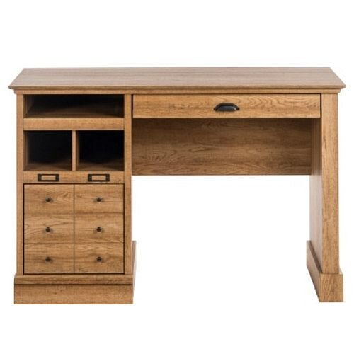 Scribed Oak Effect Retro Finish Home Office Desk
