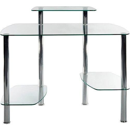 Modern Clear Glass Home Office Workstation Glacier