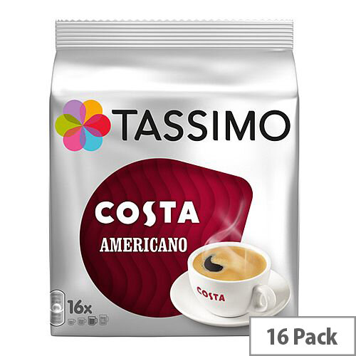 Tassimo T-Discs Costa Americano Coffee Pods 16x1 Sleeve (Pack of 16 Capsules) - Makes 16 Drinks - Specially Crafted Blend Coffee Beans, Roasted to Create Authentic Taste of a Costa Americano Coffee, with a Fine Crema on Top