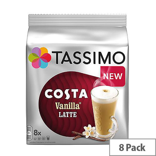Tassimo T-Discs Costa Vanilla Latte Latte (Pack of 8 Capsules) - Makes 8 Drinks. Compatible With Bosch Tassimo Machines.