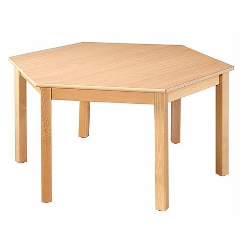 Hexagonal 120cm Diameter Preschool Table Beech Natural 46cm High TC114600