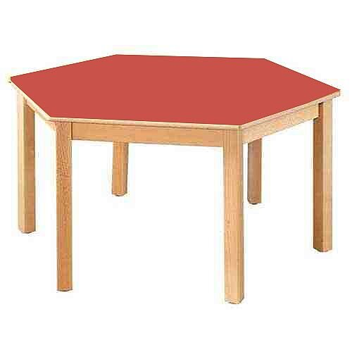 Hexagonal 120cm Diameter Preschool Table Beech Red 46cm High TC114602