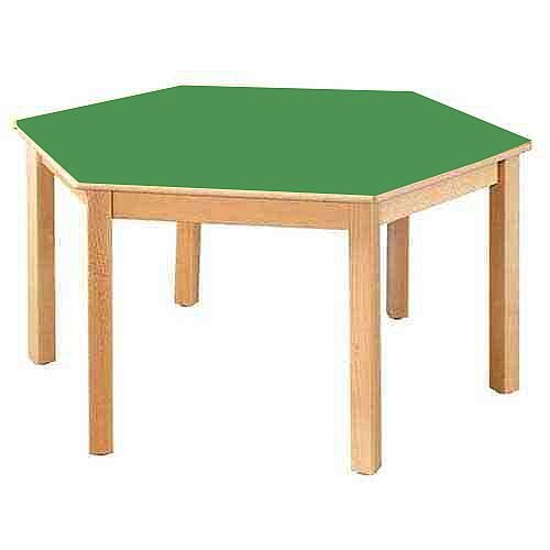 Hexagonal 120cm Diameter Preschool Table Beech Green 46cm High TC114603