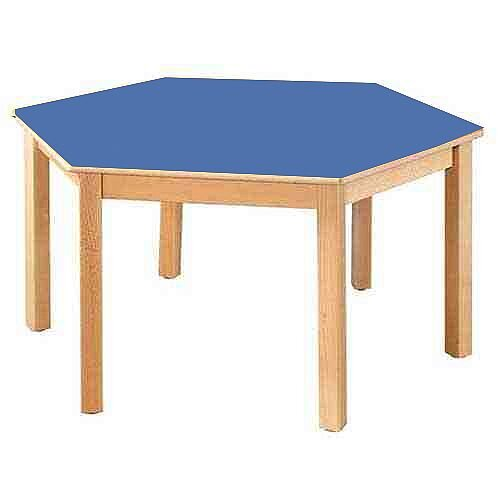 Hexagonal 120cm Diameter Preschool Table Beech Blue 52cm High TC115201