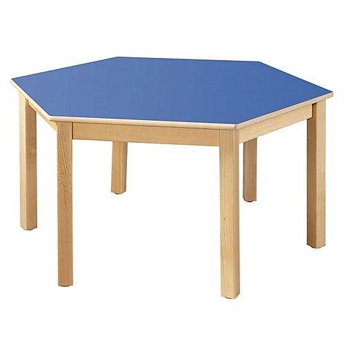 Hexagonal 120cm Diameter Primary School Table Beech Blue 59cm High TC115901