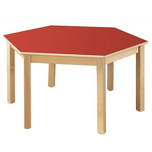 Hexagonal 120cm Diameter Primary School Table Beech Red 58cm High TC115802